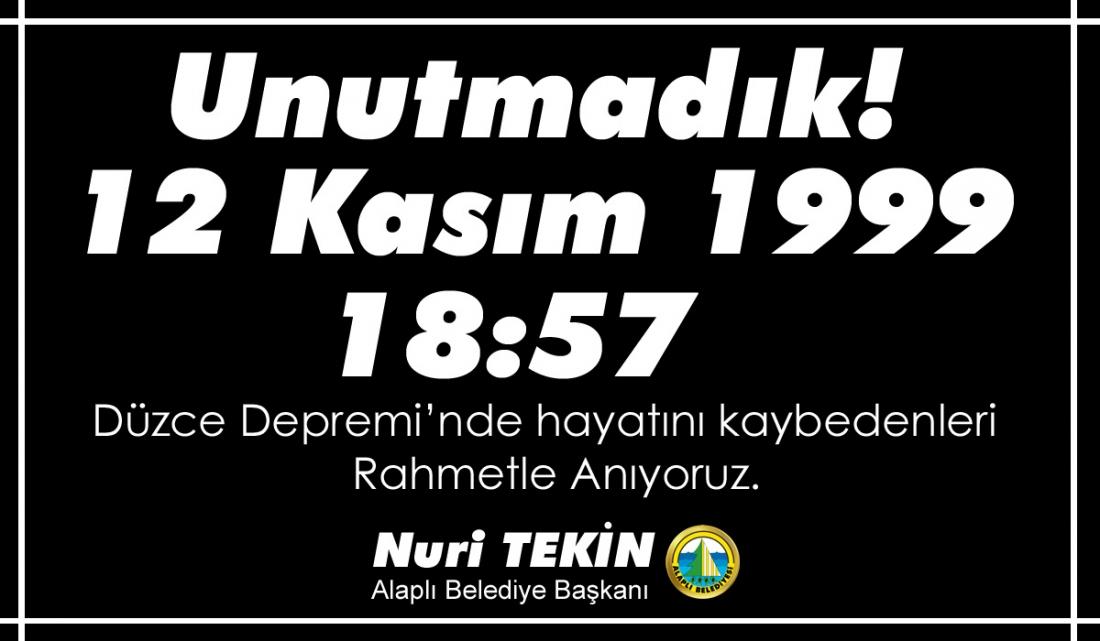 21 yıl önce Düzce'de meydana gelen deprem sonucu hayatını kaybeden vatandaşlarımızı rahmetle anıyoruz.