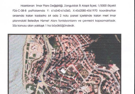 Alaplı Belediyesi İmar ve Şehircilik Müdürlüğü İmar Paftaları tutanağı