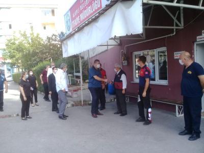 """Belediye Başkanımız Sayın Nuri Tekin, """"İtfaiye Haftası"""" dolayısıyla İtfaiye Teşkilatı'nı ziyaret etti."""