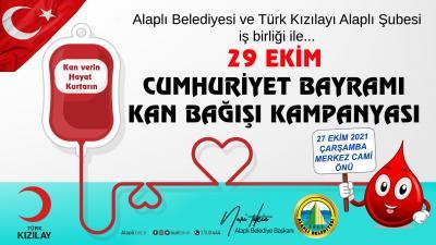 Cumhuriyetimizin 98.Yıl dönümünde Alaplı Belediyesi ve Türk Kızılayı Alaplı Şubesi iş birliğinde kan bağışı kampanyası düzenlenecek.